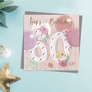 Happy 50th Birthday Card With Embellished Flowers And Balloons. Complete With Gold Foil Lettering And Co-Ordinating Grey Envelope