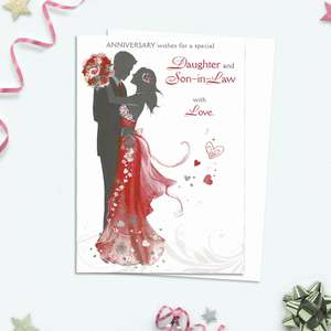 Anniversary Wishes For A Special Daughter And Son In Law Shows A Couple's Embrace In Silhouette. With Black, Red And Silver Accents This Card Is Completed With A White Envelope