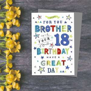 Brother Age 18 Birthday Card Alongside Its Blue Envelope