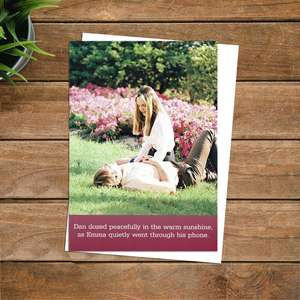 Dan Dozed Peacefully Funny Greeting Card Alongside Its White Envelope