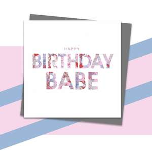 Birthday Babe Greeting Card Alongside Dark Grey Envelope