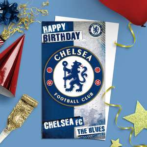 Chelsea Football Club Birthday Card Alongside Its White Envelope