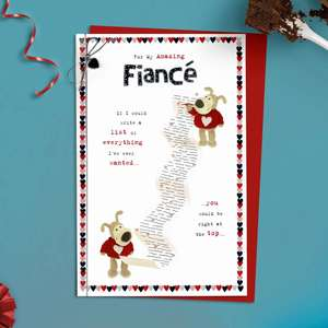 Fiance Boofle Valentines Day Card Alongside Its Red Envelope