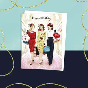 Art Deco Birthday Card Alongside Its White Envelope
