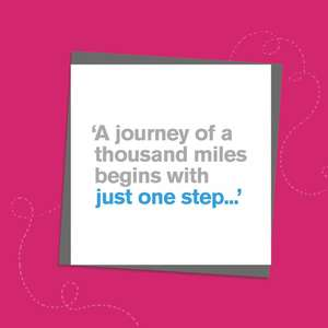 Humorous Bon Voyage Card With Grey And Blue Text To Front Only. Text reads: ' A journey of a thousand miles begins with just one step...' Message Inside : Bon Voyage. Complete With Grey Envelope
