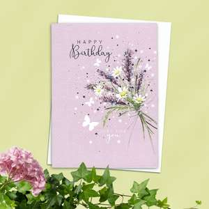 Floral Birthday Card Alongside Its White Envelope