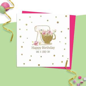 ' Happy Birthday Have A Lovely Day' Featuring A Kitchen Mixer Filled With Flowers. Hand Finished And With Added Gold Foil Detail. Blank Inside For Own Message. Complete With Neon Pink Envelope