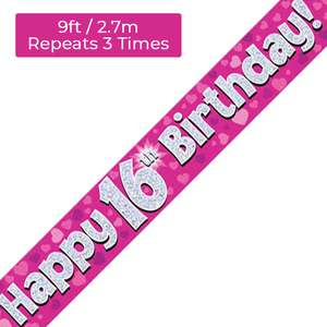 Age 16 Pink And Silver Birthday Banner Displayed