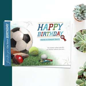 Happy Birthday Have A Great Day Featuring Football, Tennis, Cricket And Golf Balls. Complete With White Envelope