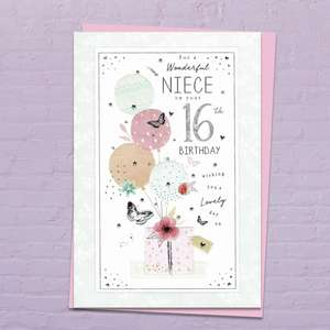 Niece Age 16 Birthday Card Shown On A Display Shelf