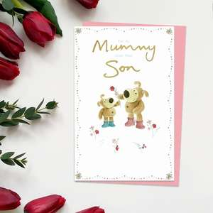 ' For My Mummy From Your Son' Mother's Day Card Showing Boofle Bear Holding Out A Flower To A Smaller Bear!
