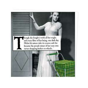 Tartan Shopping Basket On Wheels Funny Greeting Card Alongside Its White Envelope