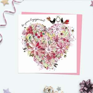 A Very Pretty Engagement card Featuring a Large Floral Heart With two Birds Holding A Ring! Complete With Pink Envelope