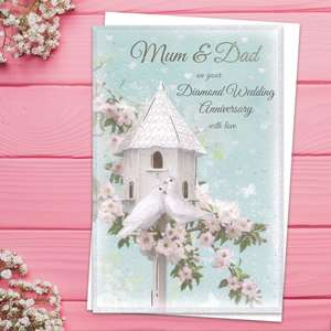 ' Mum & Dad On Your Diamond Wedding Anniversary With Love' Card Featuring A Beautiful Sparkly White Dovecote And Two White Doves! Complete With White Envelope