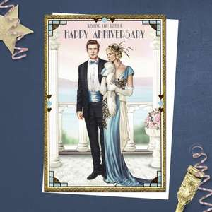 ' Wishing You Both A Happy Anniversary' Card Featuring An Elegant Couple On An Ornate Balcony. From The Art Deco Range By Debbie Moore. With Added Gold Foiling Detail And White Envelope