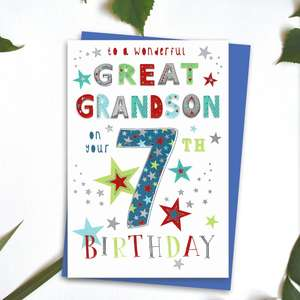 Great Grandson Age 7 Birthday Card Alongside Its Blue Envelope