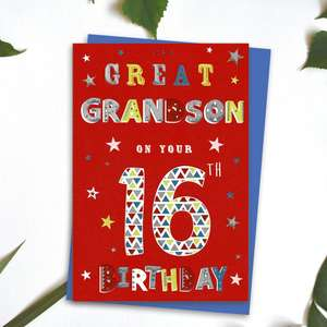 Great Grandson Age 16 Birthday Card Alongside Its Blue Envelope