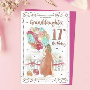 Granddaughter Age 17 Birthday Card Sitting On A Display Shelf
