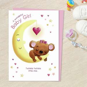 Baby Girl Bear And Moon Greeting Card Alongside Its Light Pink Envelope