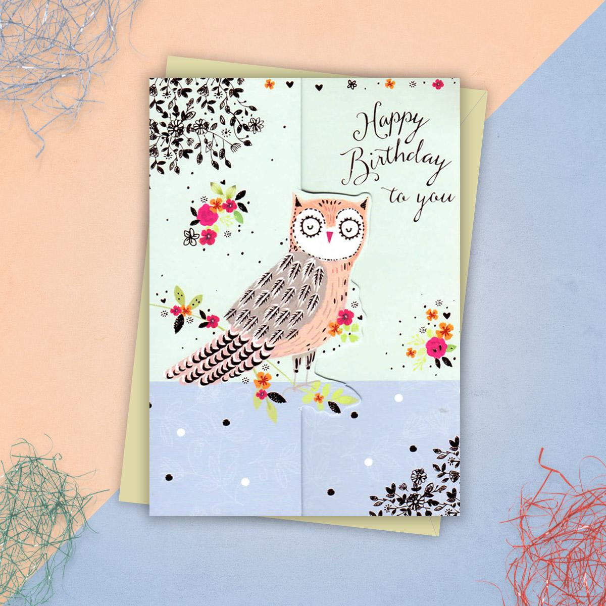 Die-cut Owl Birthday Card And Envelope