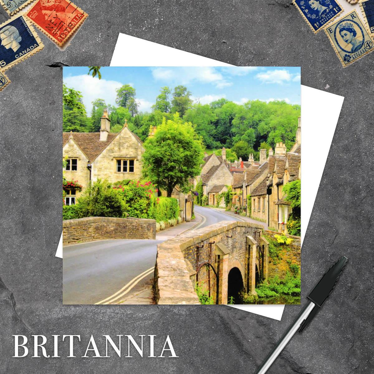 Castle Combe Wiltshire Blank Greeting Card With Its White Envelope