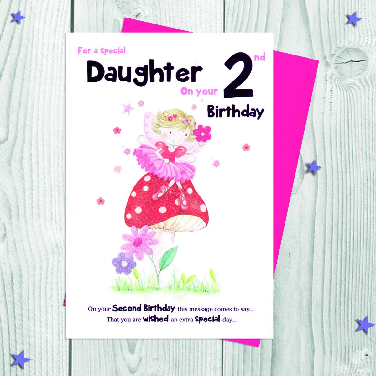 Daughter Age 2 Birthday Card Alongside Its Envelope