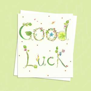 Green Floral Good Luck Complete With Envelope