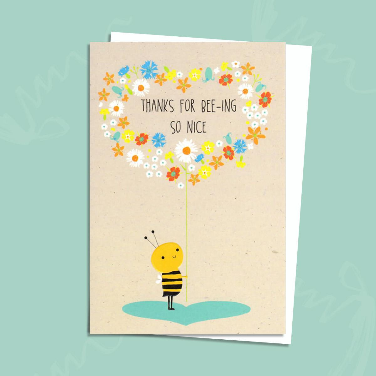 Bee Themed Thank You Card Alongside Its Envelope