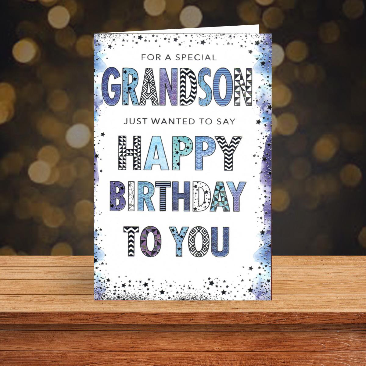 Grandson Pizazz Blue And White Birthday Card Sat On A Display Shelf