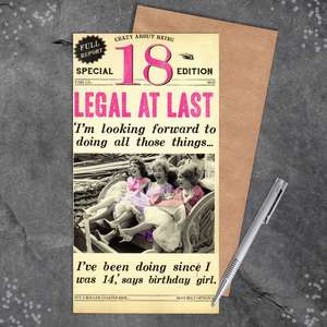 18th Legal At Last Humour Birthday Card