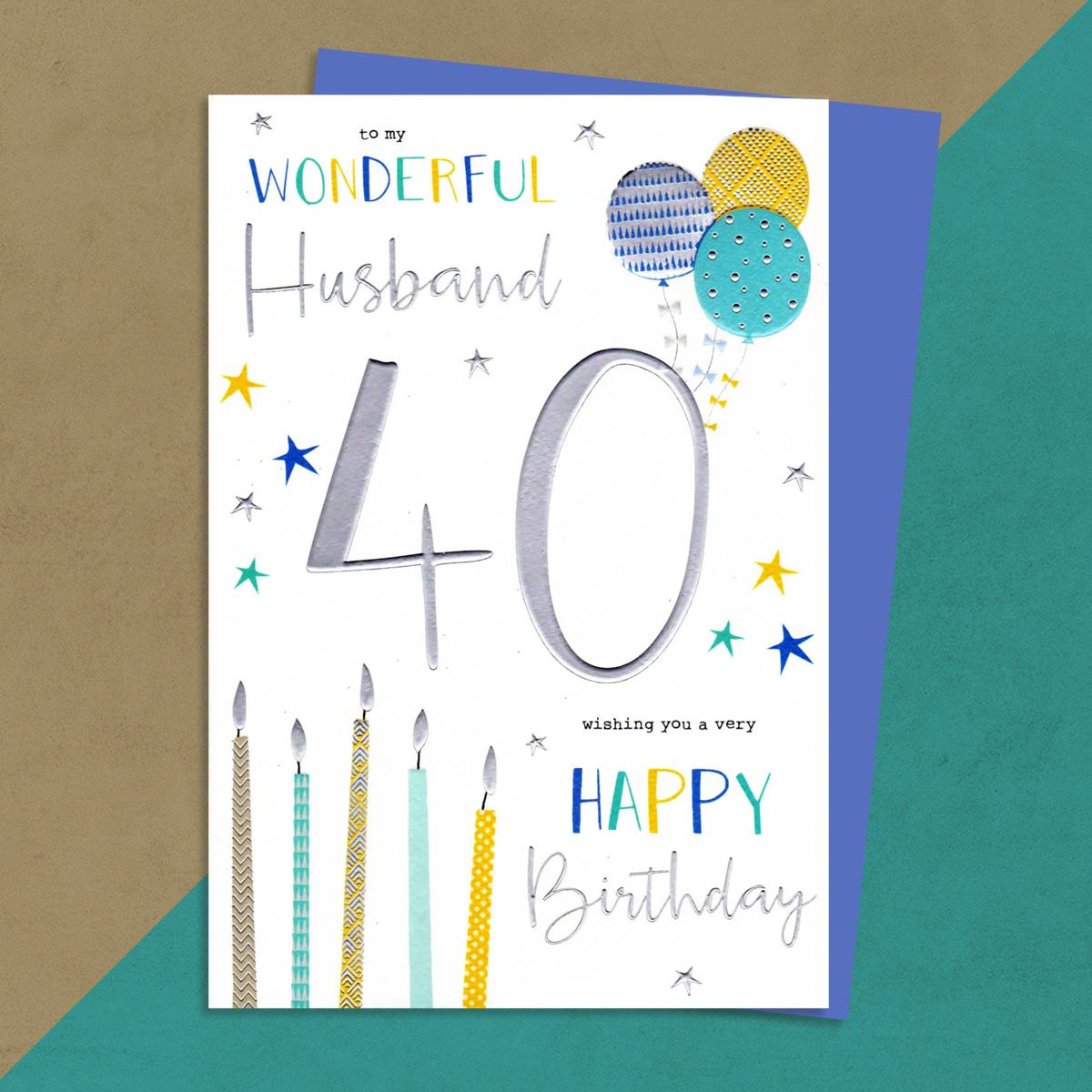 Husband Age 40 Birthday Card Sat On A Wooden Display Shelf