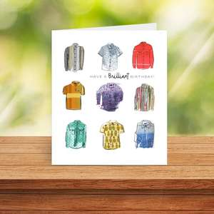 Mens Shirts Male Birthday Card Sitting On A Display Shelf