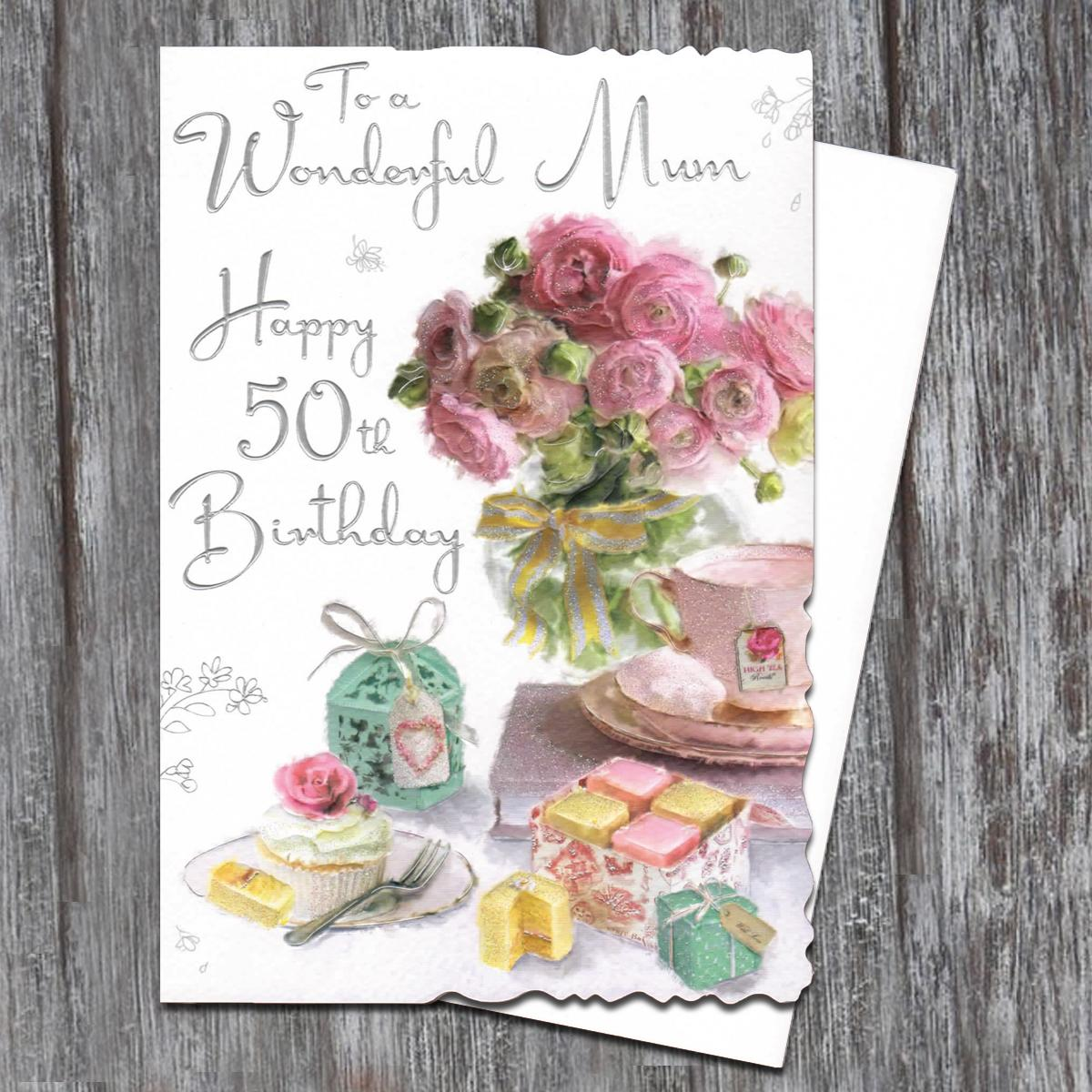 Mum 50th Birthday Card Alongside Its White Envelope