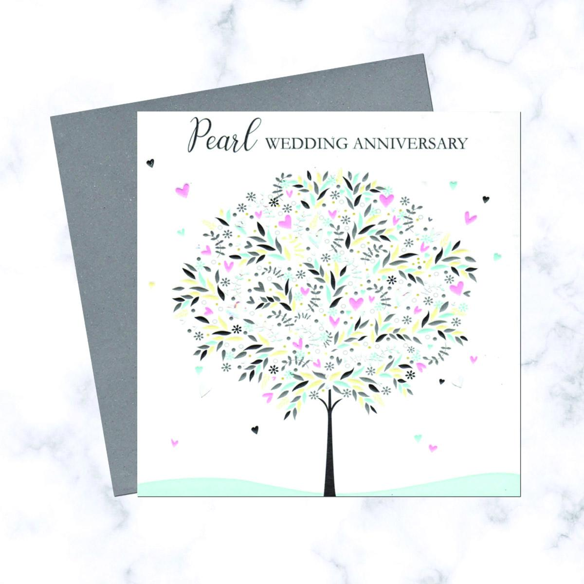 Pearl Anniversary Card Alongside Its Envelope