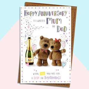 Barley Bear Mum And Dad Anniversary Card Alongside Its Envelope