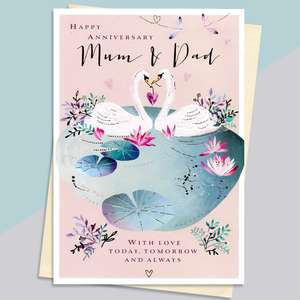 Mum And Dad Elegant Swans Anniversary Card Alongside Its Envelope