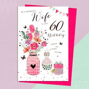 Wife Age 60 Birthday Card Alongside Its Magenta Envelope