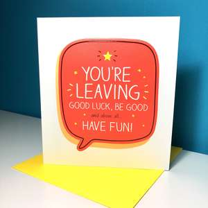 Sorry You're Leaving Greeting Card Sitting On A Display Shelf