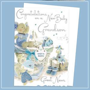 New Baby Grandson Birth Card Alongside Its White Envelope