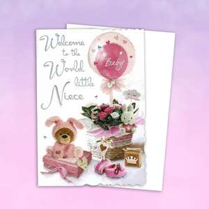 Baby Niece Card Alongside Its White Envelope