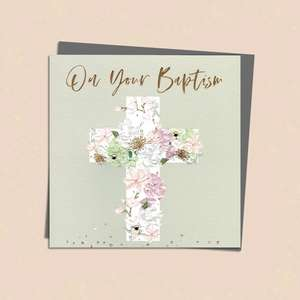 On Your Baptism Greeting Card Alongside Its Silver Grey Envelope