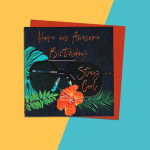 Sunglasses Themed Birthday Card Alongside Its Orange Envelope