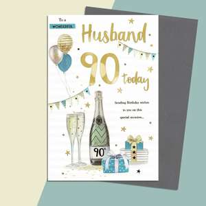 Husband Age 90 Birthday Card Alongside Its Silver Envelope