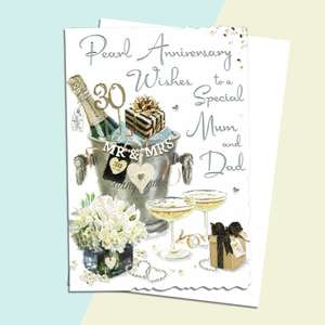 Mum And Dad Pearl Anniversary Card Alongside Its White Envelope