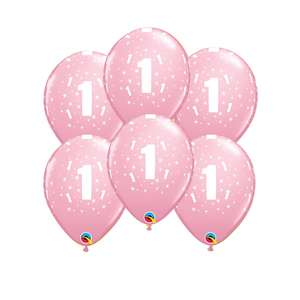 Image Of 6 Inflated Pink Age 1 Latex