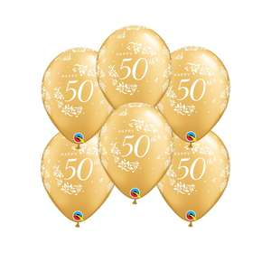 6 Inflated Golden Wedding Anniversary Latex Balloons