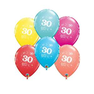Image Of 6 Inflated Age 30 Multicoloured Latex Balloons