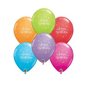 Image Of A Packet Of 6 Happy Birthday Multicoloured Latex Balloons