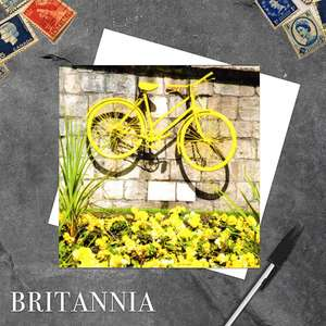 Yellow Bicycle, York City Walls, Blank Greeting Card Alongside Its White Envelope