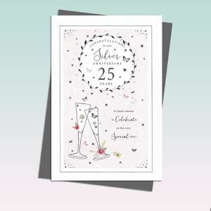 Silver Anniversary Card Featuring A Pair Of Champagne Glasses